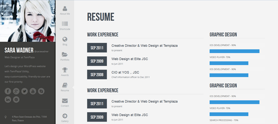profiler vcard resume wordpress theme by templaza themeforest