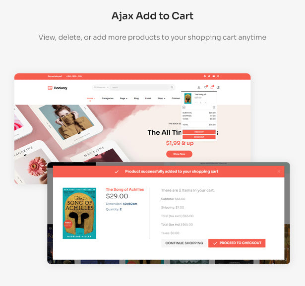 Ajax Add to Cart View, delete, or add more products to your shopping cart anytime
