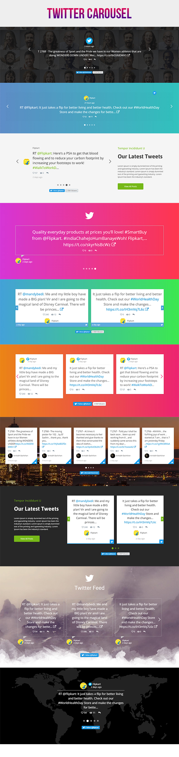 Visual Composer - Twitter Feed Stream Grid With Carousel