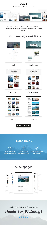 Smooth | Minimal Blog PSD Template - 1
