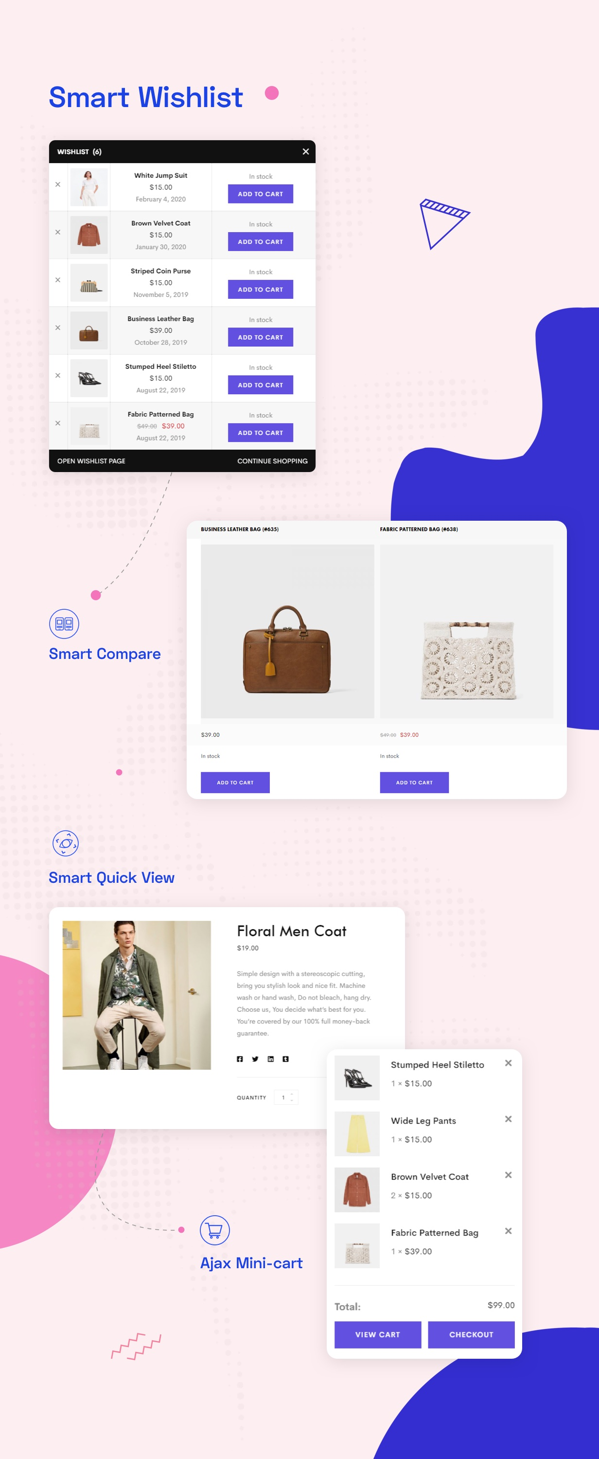 shop feature with smart wishlist, quick view, compare, ajax