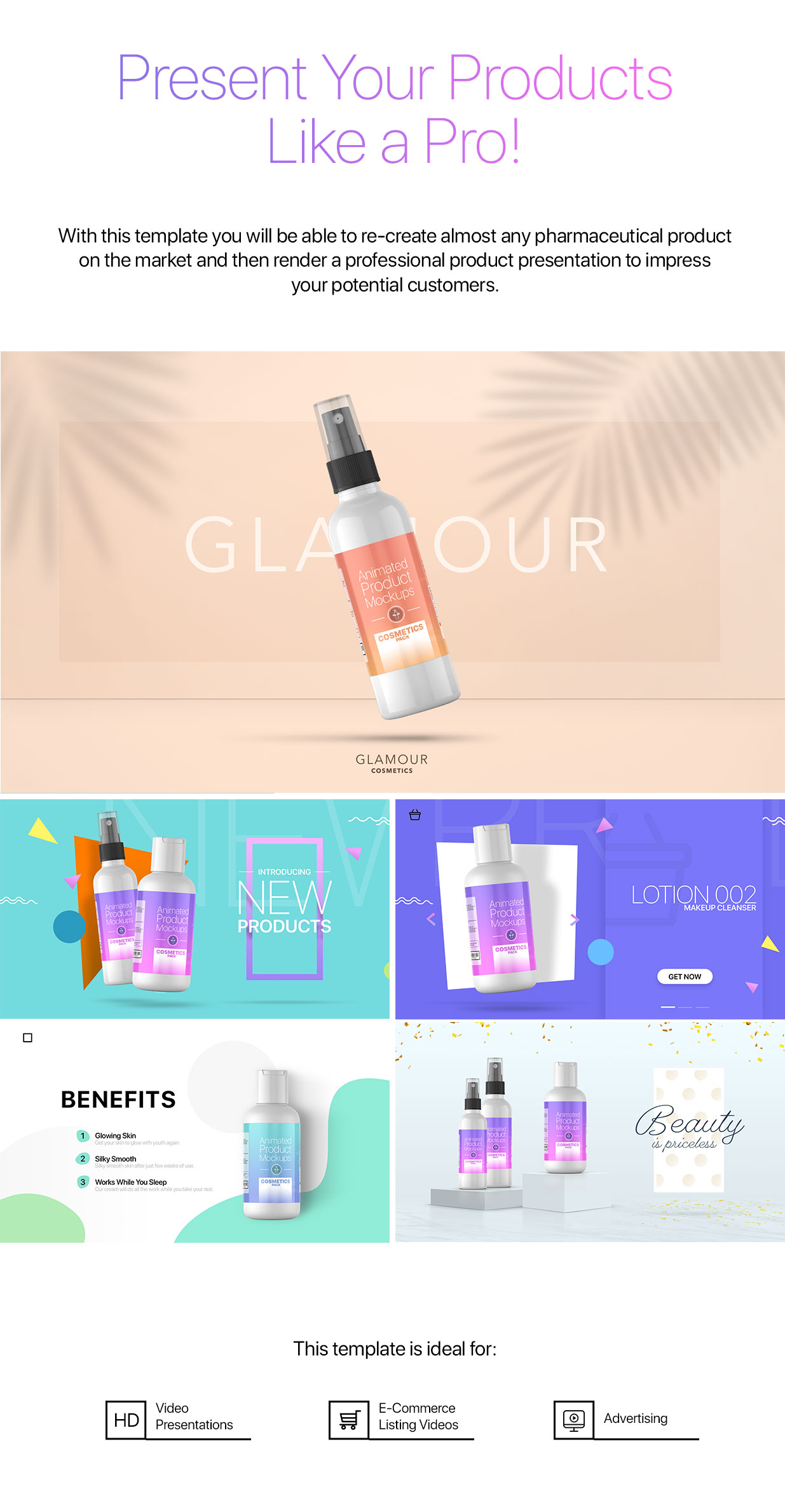 Animated Product Mockups - Cosmetics Pack - 2