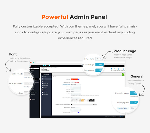 eCommerce Prestashop Shopping Theme - admin panel