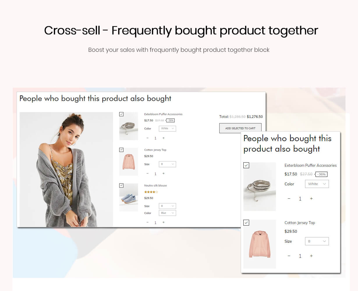 Cross-sell block on the product page and the cart page