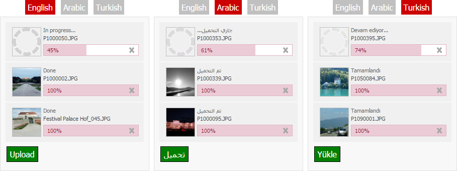 Multilingual Photo Uploader in 3 Languages: English, Arabic & Turkish