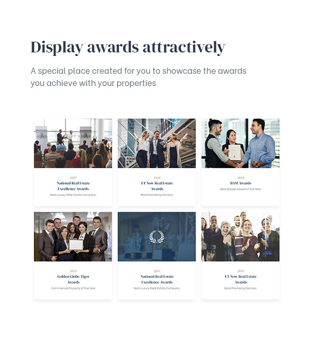 Rehomes Real Estate WordPress Theme Allows displaying awards about what you achieve with your proper