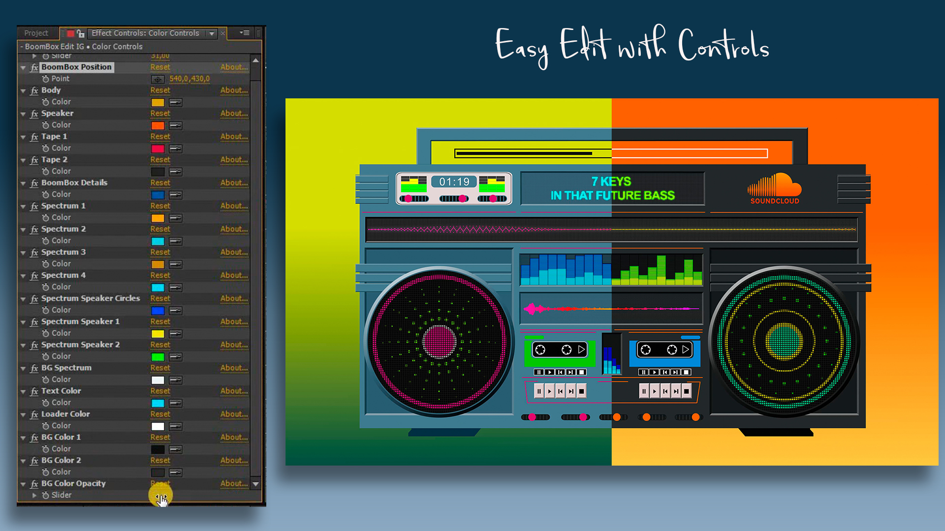 Audio React Spectrum Visualizer with Boombox, Cassette Tape, Vinyl Plate and Vinyl Player Equalizer - 2