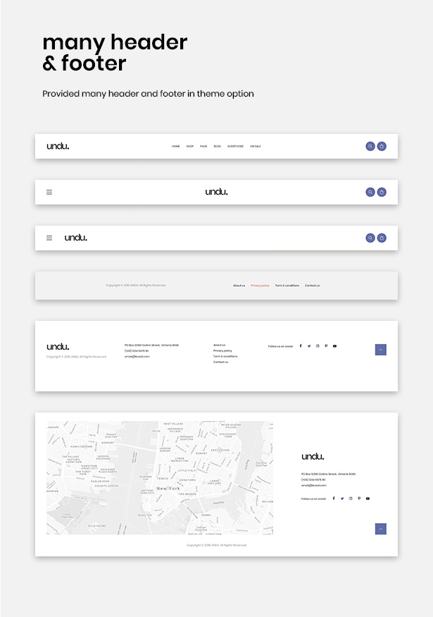 Multiple Header & Footer With Clean And Neat Design Undu - Furniture & Fashion WooCommerce WordPress Theme