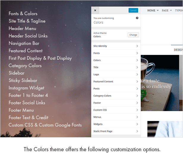 The Colors theme offers the following customization options.