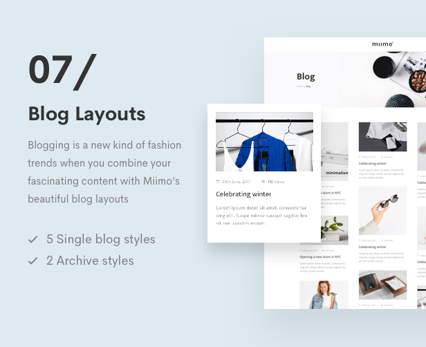 Minimal WooCommerce Shop WordPress Theme - 7 Blog Layouts
