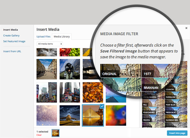 Ultimate Image Filters integrates directly into the WordPress Media Manager