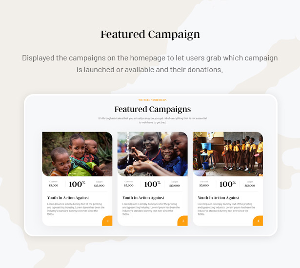 Gainlove Nonprofit WordPress Theme - Attractive Featured Campaign