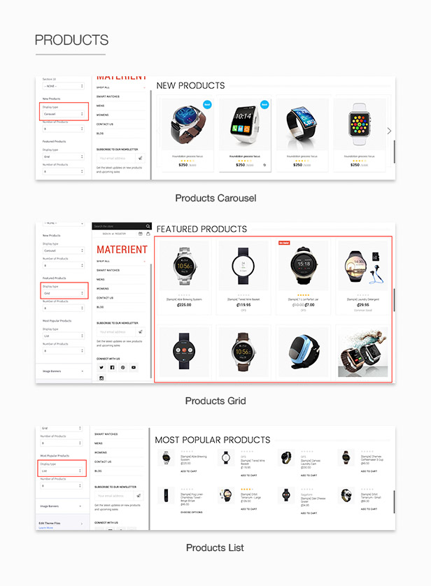 Products grid list carousel