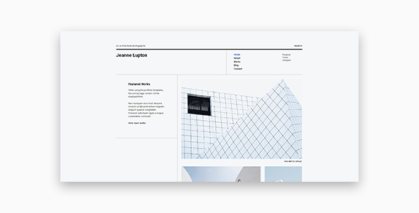 Jeanne - Minimal Photography and Portfolio WordPress Theme