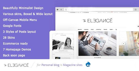 Elegance - A Flawlessly Minimalist Blogging Drupal 7.6 Theme