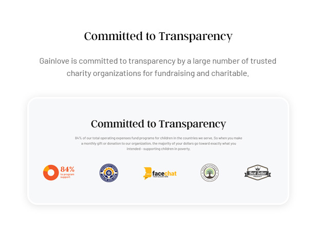 Gainlove Nonprofit WordPress Theme - Committed to Transparency