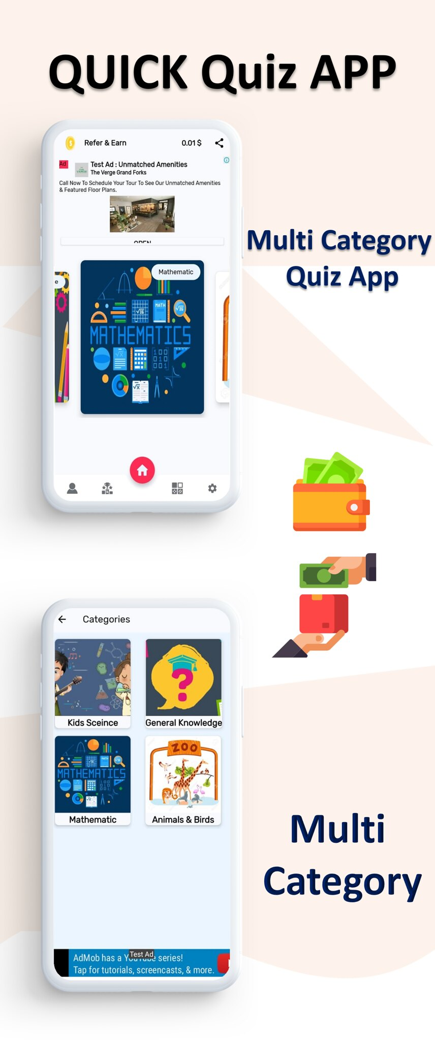 Quick Quiz App | Quiz App | Multi Category | Amob Ads | Facebook Ads | Admin Panel - 4