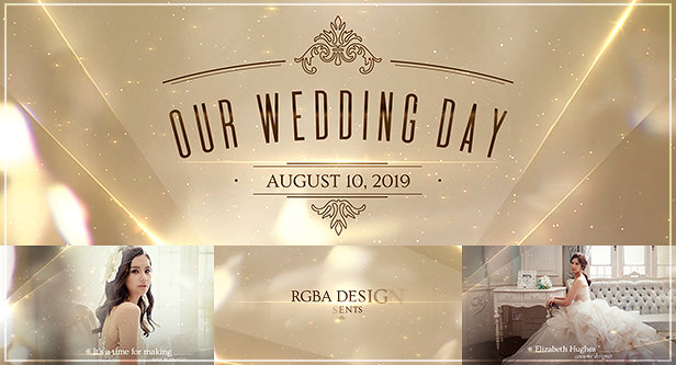 Elegant White Wedding Videography After Effects Template with golden bokeh lights and shimmering particles, perfect for majestic wedding film & beautiful love story