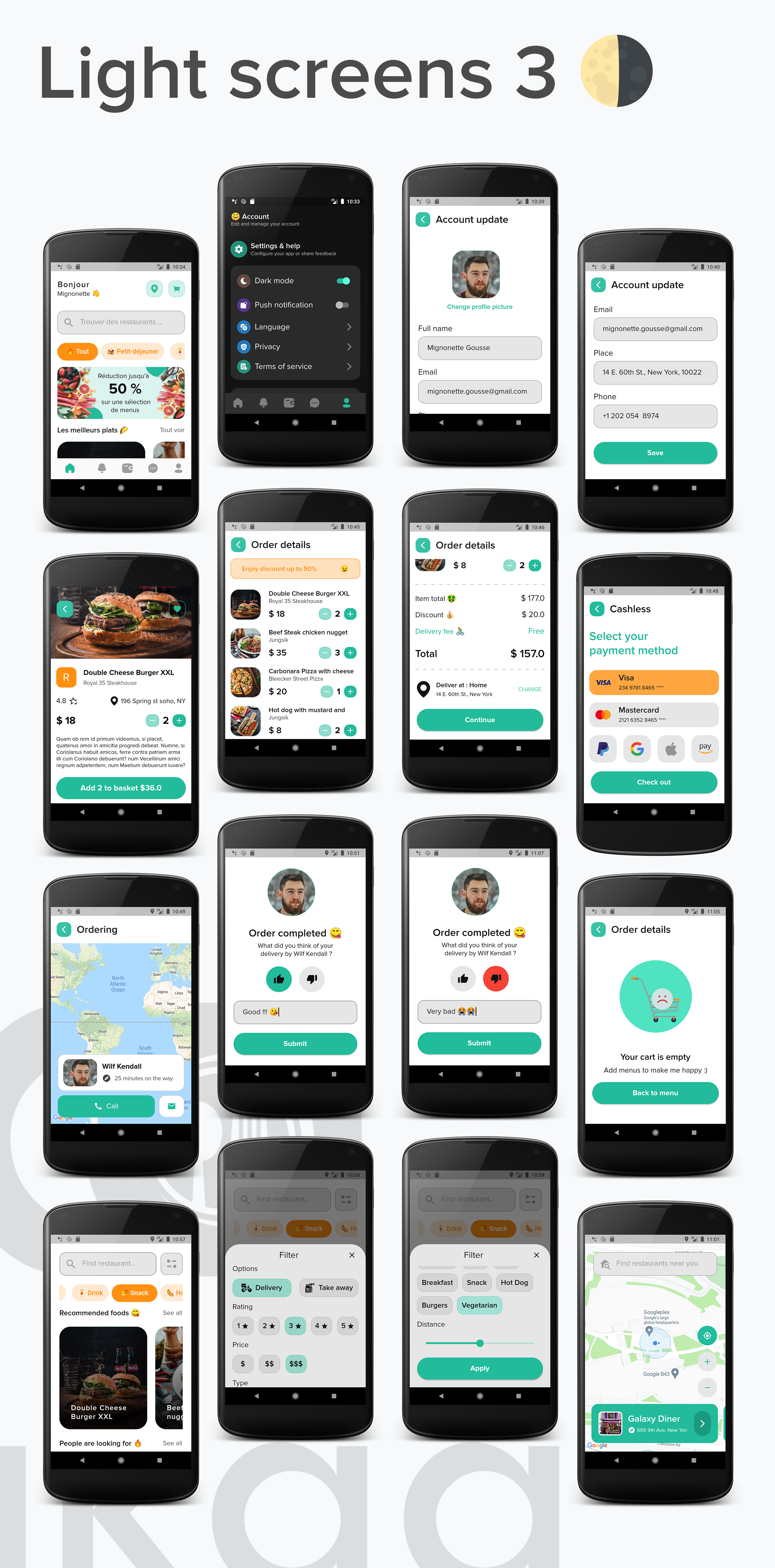 Lakaa food delivery app light mode screens 3 - flutter ui kit design