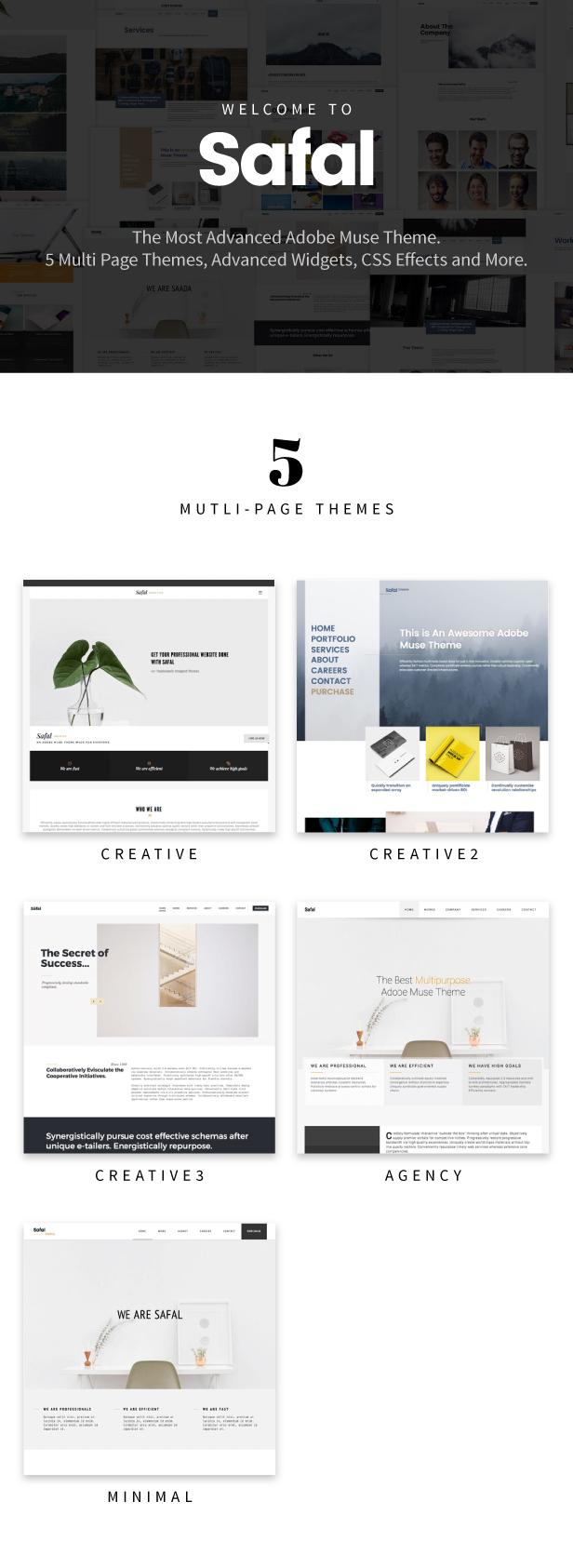 Safal: 5-in-1 Responsive Creative Multipurpose Adobe Muse Theme - 1