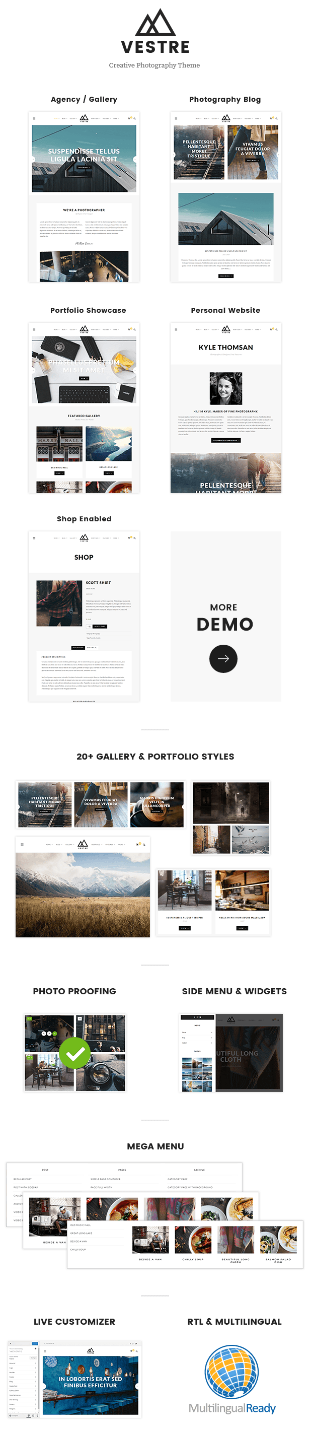 Vestre - Creative Photography & Portfolio WordPress Theme