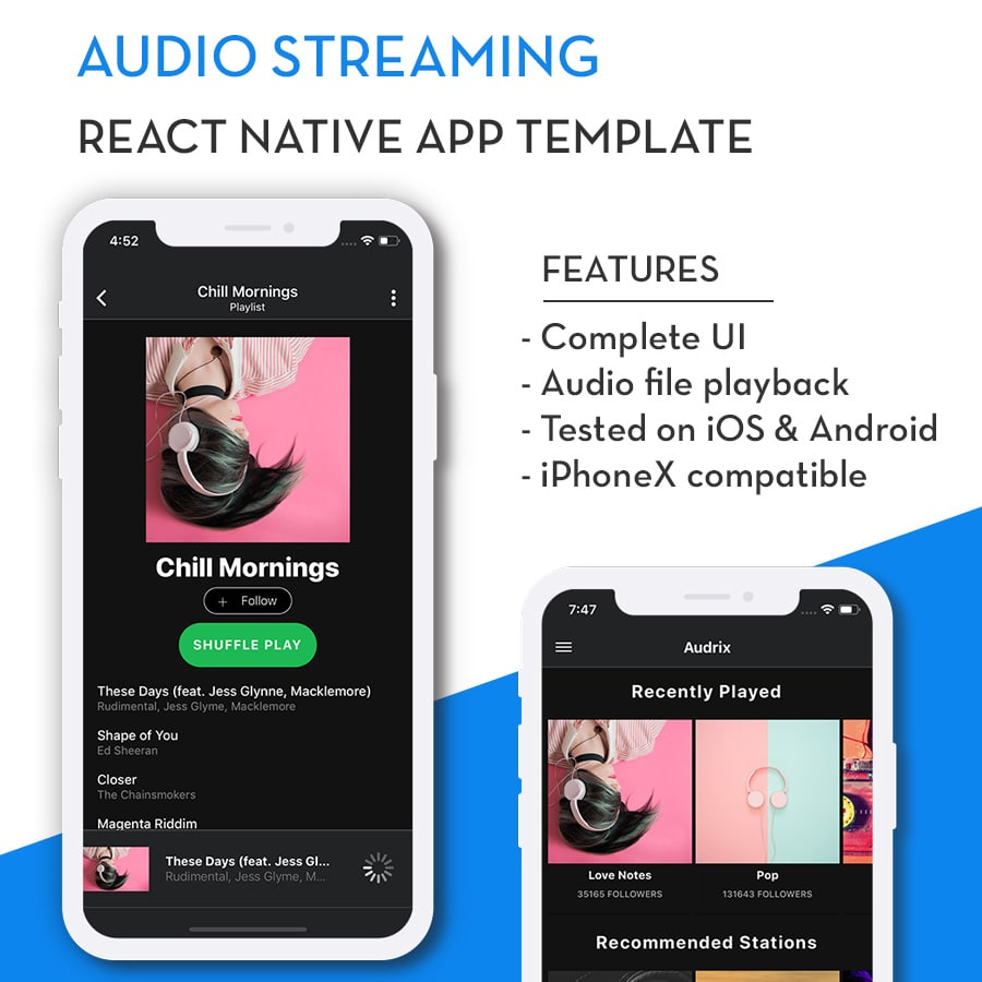 React Native Audio Streaming App Template