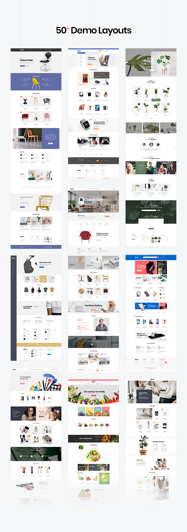 multiple woocommerce wordpress theme - 57+ niches homepage demos