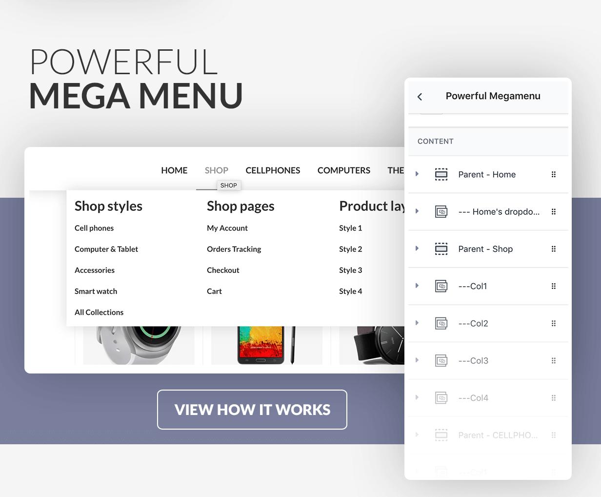 Mega menu drag & drop