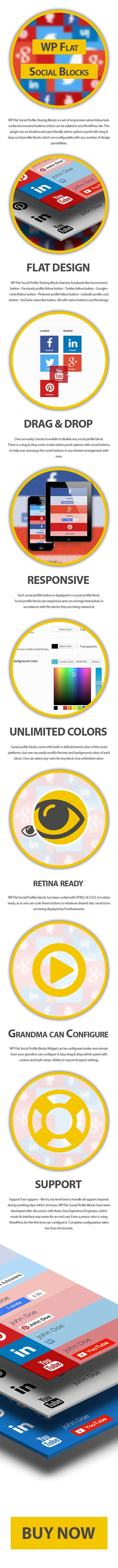 WP Düz Sosyal Profili Blokları
