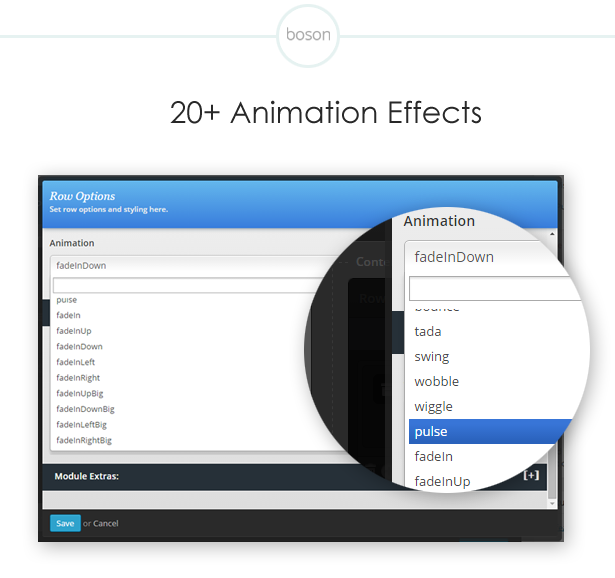 More then 20 animation effects