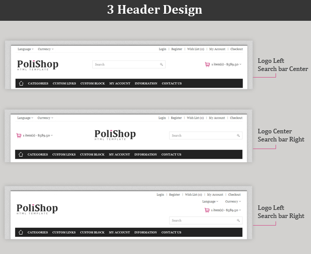 html header menu templates - polishop responsive ecommerce html template by