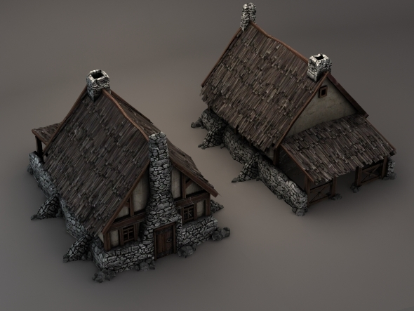 Low Poly 3D Medieval House