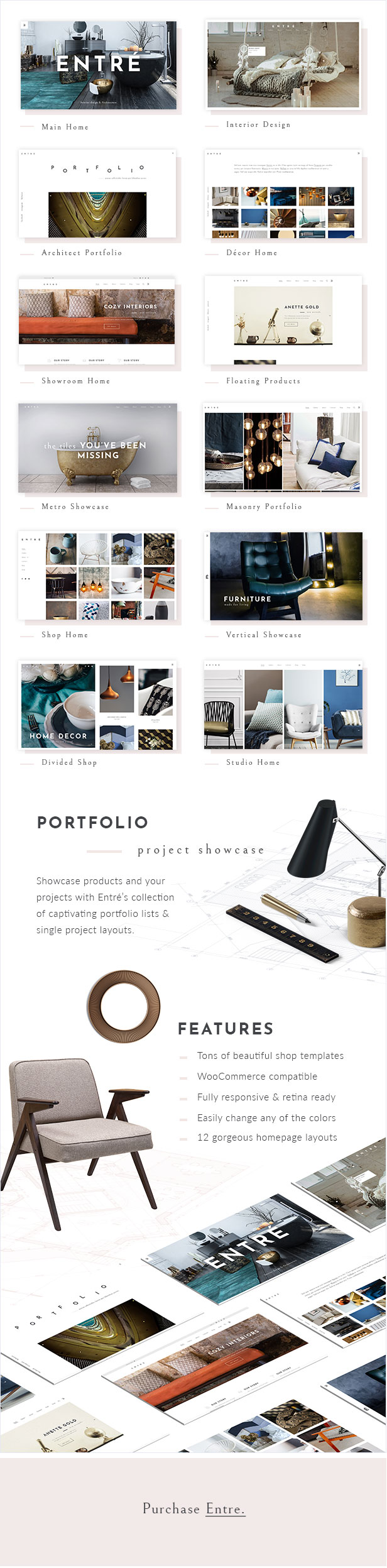 Meet Entré, Elegant Interior Design And Décor WordPress Theme, Created To  Help You Set Up An Amazing Website With 0 Code Knowledge.