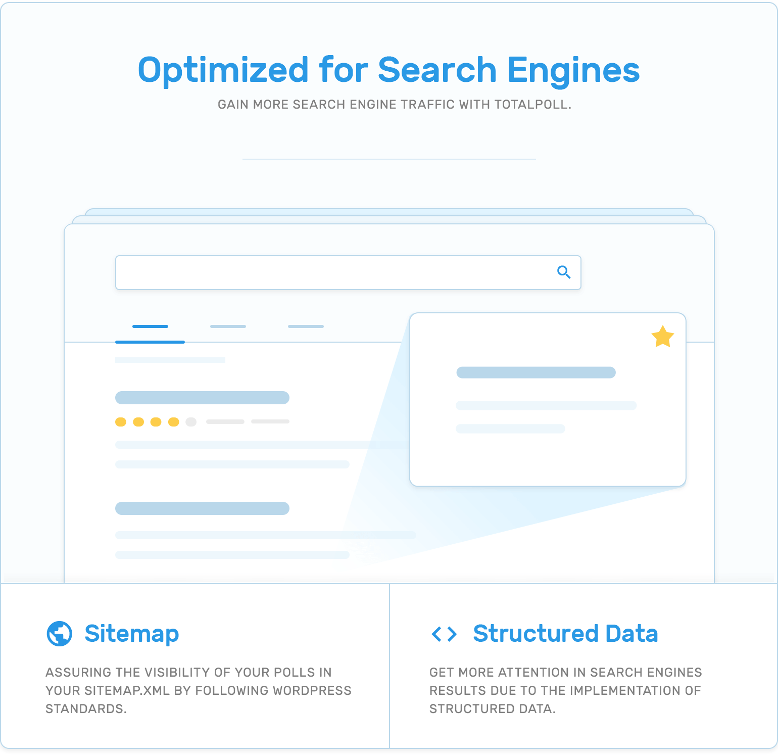 Search engines optimization (SEO), sitemap and structured data in TotalPoll WordPress poll plugin.