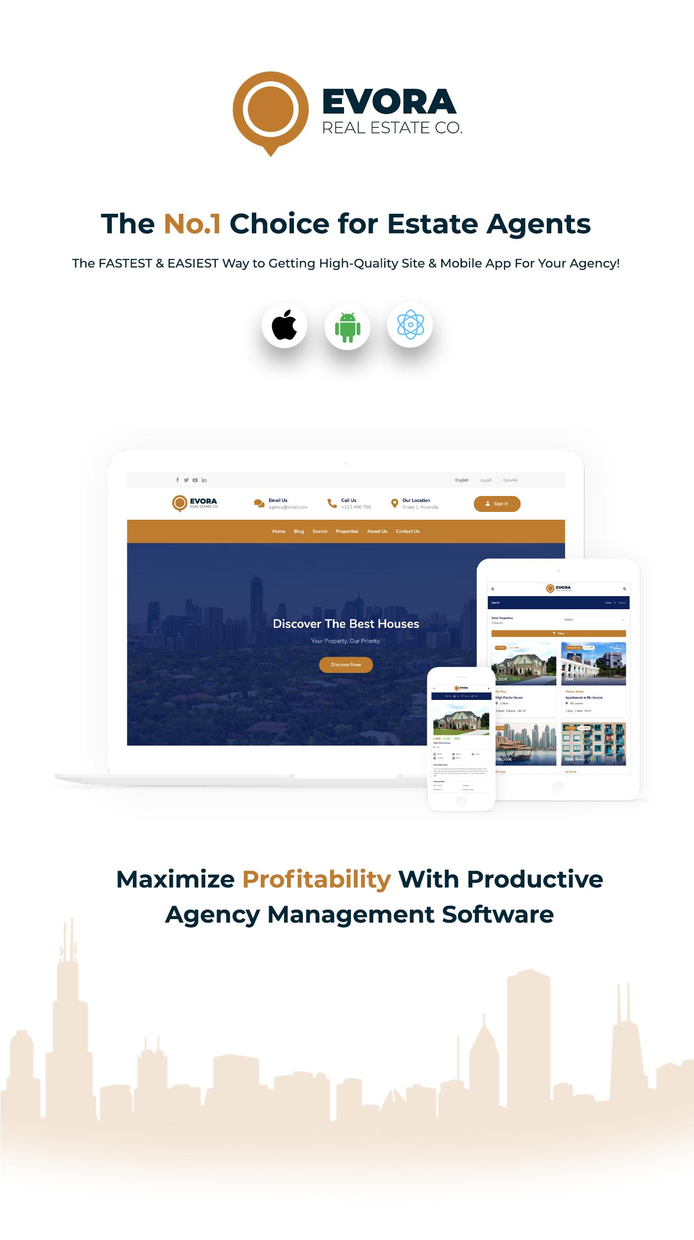 Evora - Solução Completa Imobiliária React Native App - 2