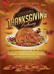 Thanksgiving Dinner Flyer Template by Design Cloud