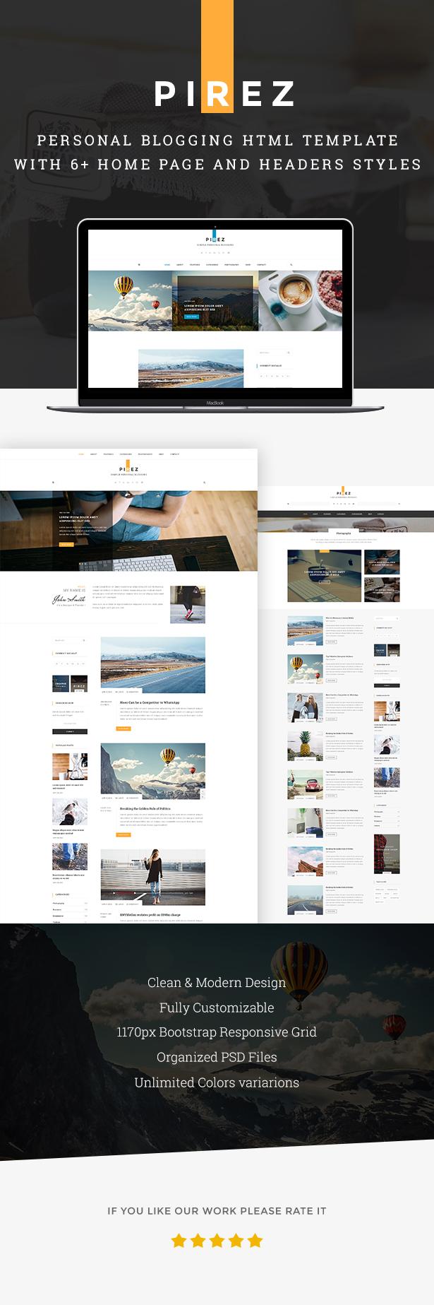 PIREZ - Blogging HTML Template by Pixity | ThemeForest