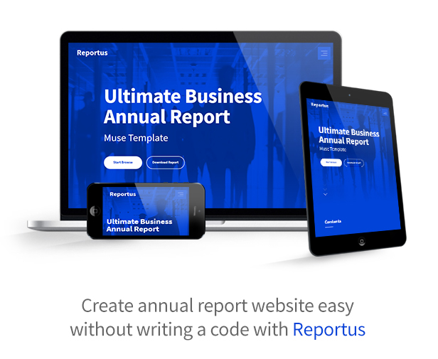 Reportus Is A Responsive One Page Muse Template Designed Specifically For  The Annual Report / Financial Report. Suitable For Any Type Of Business  Projects ...  Business Annual Report Template