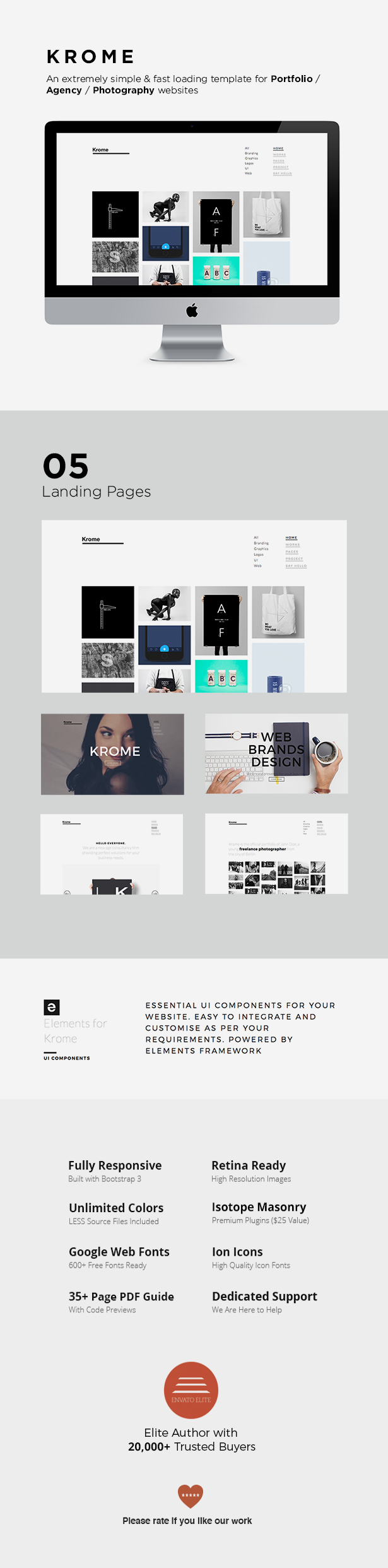 KROME - Pure & Minimal Creative Portfolio / Agency / Photography Template