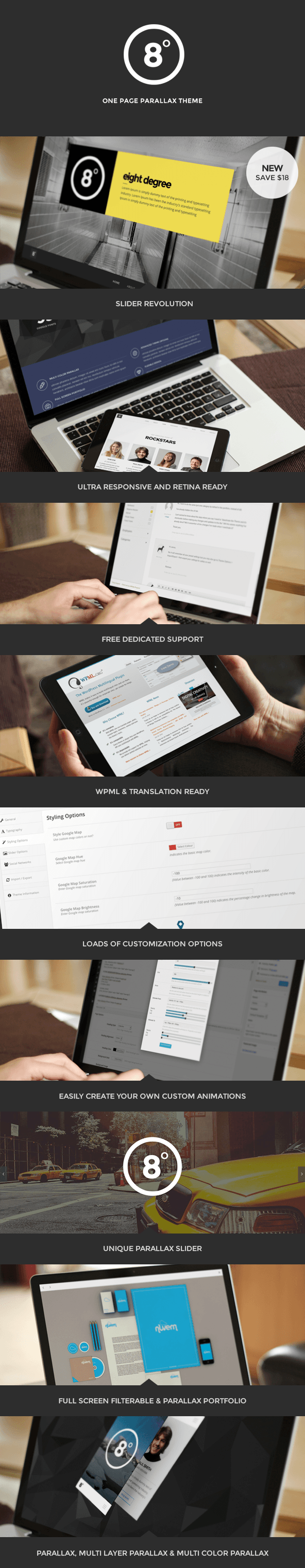Eight Degree - One Page Parallax Theme - 1