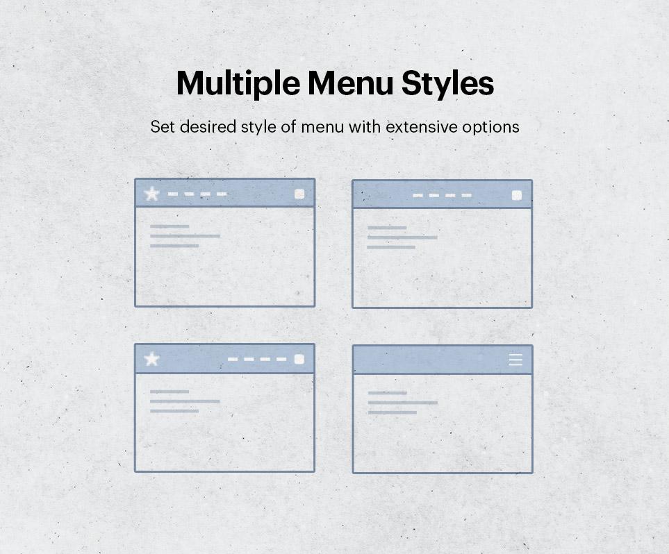 Multiple menu styles