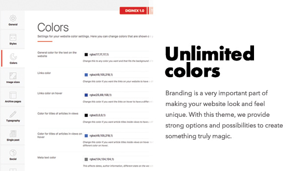 Diginex has unlimited colors