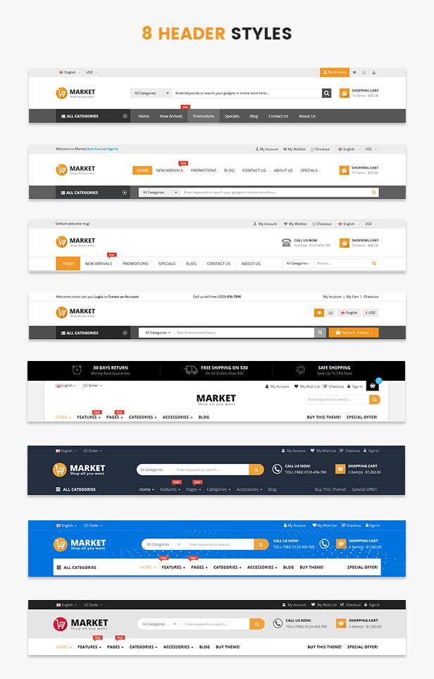 Market - header styles