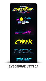 Cyberpunk photoshop text effect styles