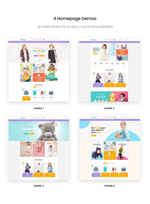 Various BerryKid baby shop homepage demos