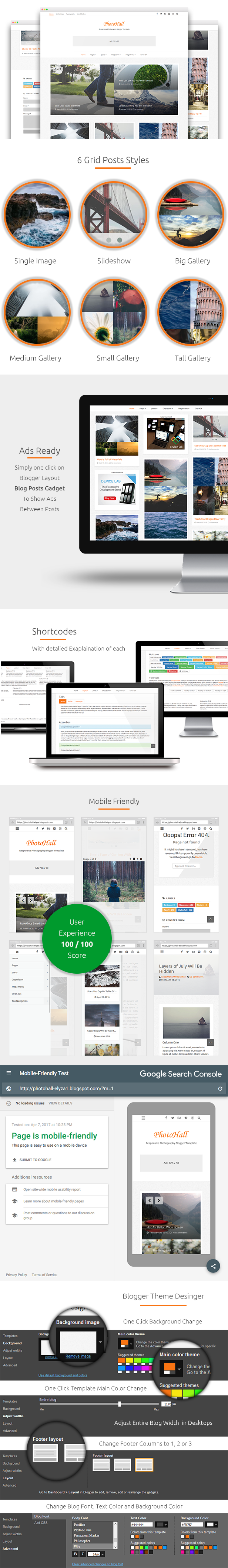 PhotoHall - Responsive Photography Blogger Theme Features