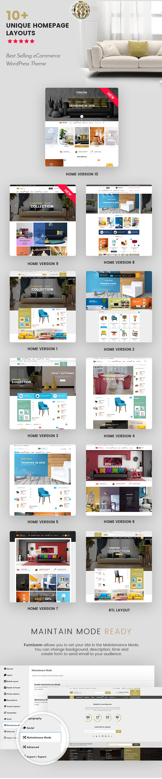 Responsive Furniture WooCommerce WordPress Theme - Homepage