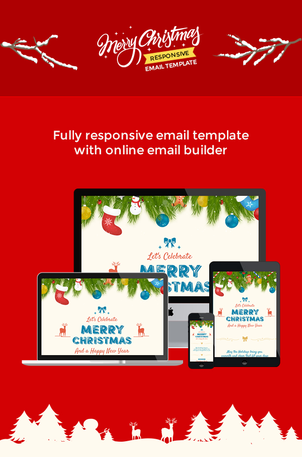 christmas and new year responsive email template with builder