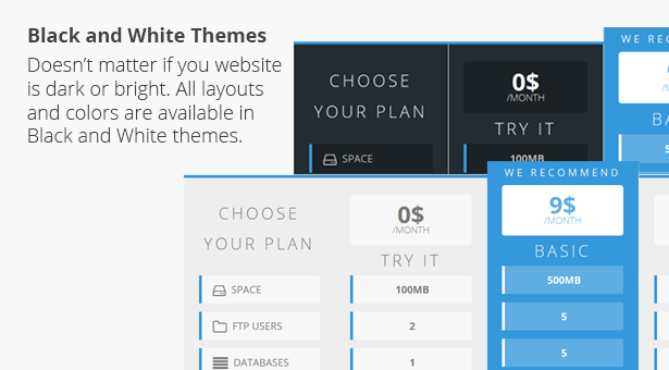 Flat Pricing Table, 2 Themes, 8 Colors - 5