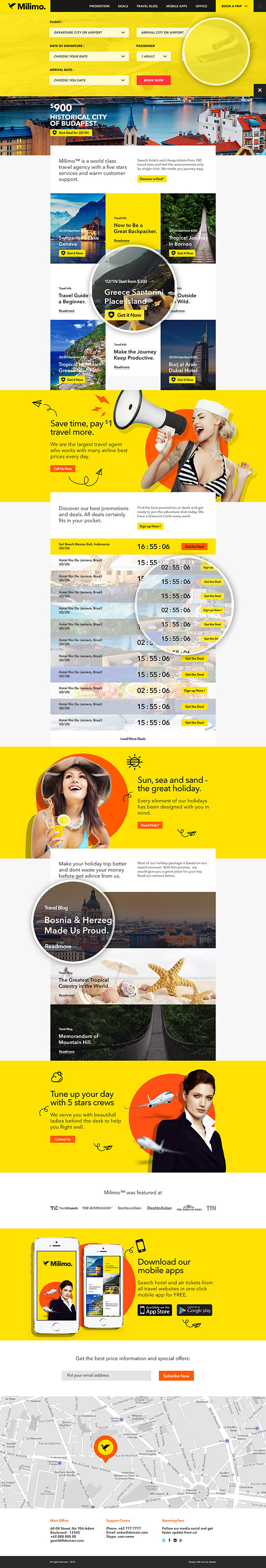 Milimo Travel - Onepage PSD Template - 1